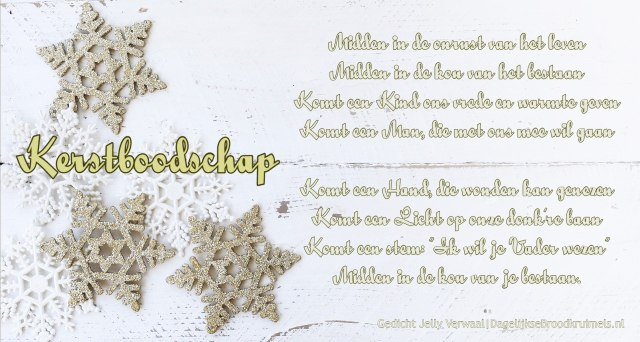 Gedicht Kerstboodschap Jelly Verwaal