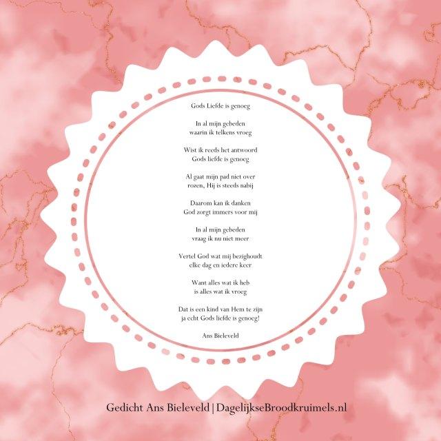gedicht gods liefde is genoeg